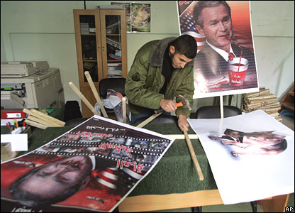 Workers in a print house prepare posters for a Hamas rally in Gaza City, Wednesday 9 January 2008