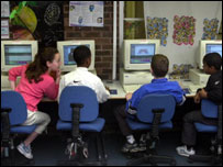 School children using computers, BBC