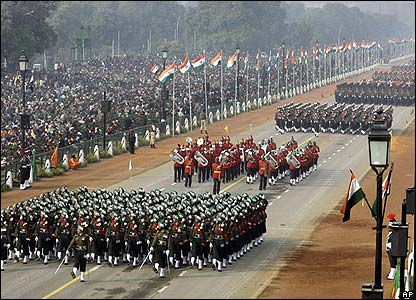Indian Army soldiers march during the 59th Republic Day Parade, in New Delhi