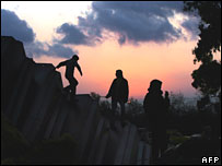 Palestinian children play near the border at Rafah between Egypt and Gaza, 27 January 2008