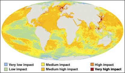 The global ocean impact map | Image: BBC News