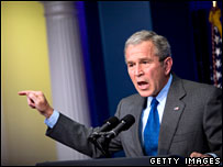 George W Bush at the White House on 28 February 2008