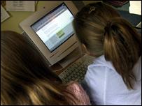 Girls using the internet