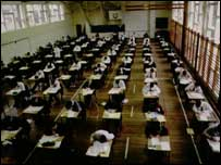Children taking exams, BBC
