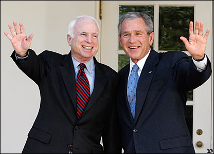 George W. Bush endorses John McCain for the 2008 Republican presidential nomination.
