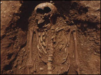 Skeleton of an Anglo-Saxon girl excavated and reburied at Barton-on-Humber, Lincolnshire, 2008
