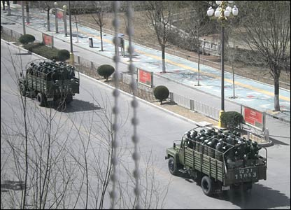 Troops in Lhasa on 15 March - picture sent to the BBC.
