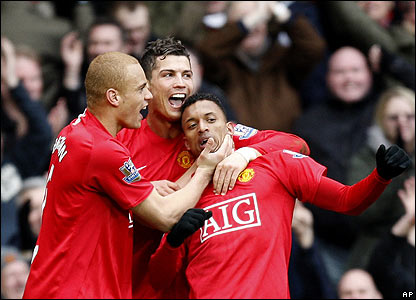 Nani celebrates scoring United's third