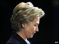 Hillary Clinton prepares to address reporters at the University of Pittsburgh on 25 March