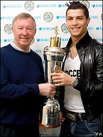 Cristiano Ronaldo receives his award from Sir Alex Ferguson