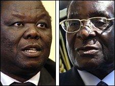 Morgan Tsvangirai (l) and Robert Mugabe (r)