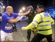 Rangers fan and riot police