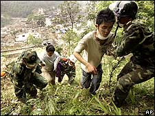 People sought refuge on the hills surrounding the destroyed city