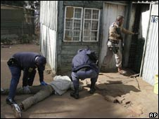 The South African army in a security operation in response to violence.