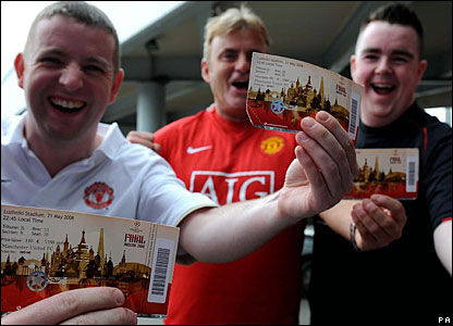 There are plenty of manchester United fans keen to show off their tickets on arrival in Moscow