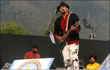 Salman Ahmad on stage in Srinagar