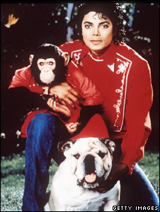 Michael Jackson and Bubbles the chimp
