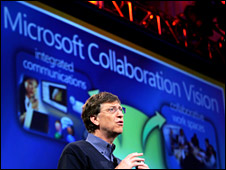 Gates at a Microsoft presentation in 2005