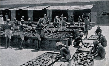 Indian labourers processing opium for the British Raj. (Image source - Wellcome Library; Image courtesy - bbc.co.uk). Click for a larger image.