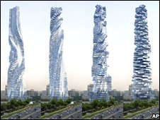 Artist image released by Dynamic Architecture shows the rotating skyscraper that is to be built in Dubai, in various stages of movement.