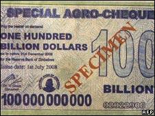 Zimbabwe's $100bn note