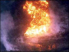 A fire caused by stealing oil [photo courtesy of legaloil.com]