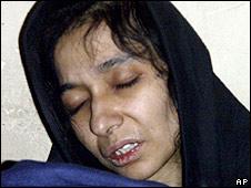 Aafia Siddiqui, pictured in custody