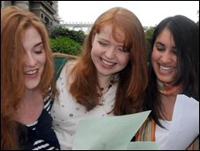 Foyle and Londonderry College pupils Edwina Heggarty, Sinead Magner and Nina Singh celebrate straight As