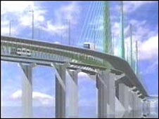 A computer-created impression of the new Mersey Gateway bridge