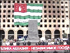 Pro-independence rally in Sukhumi, Abkhazia, 21 Aug 08