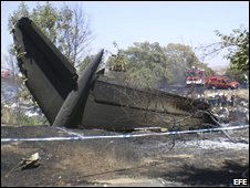 Wreckage of the Spanair MD82, 21 August 2008 [Pic: EFE]