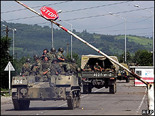 Russian troops on Abkhazia/Georgia border