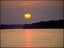 A sunset over the Amazon, Peru