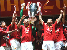 Man Utd celebrate Champions League victory in 2008
