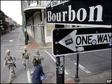 National Guard troops on the streets of New Orleans