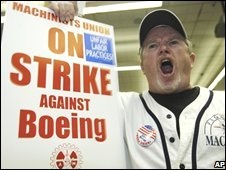 Boeing worker at picket in Seattle on 3 September