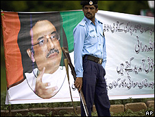 Poster of Asif Ali Zardari outside parliament