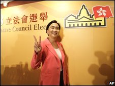 Pro-democracy candidates Emily Lau of The Frontier Party celebrates
