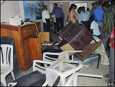 A church attacked by a mob in Karnataka on 14 September 2008