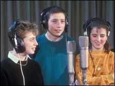 Ruth Carraway, Lee McDonald, and Lisa York during recording of Just Say No!