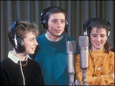 Ruth Carraway, Lee McDonald, and Lisa York during recording of Just Say No!