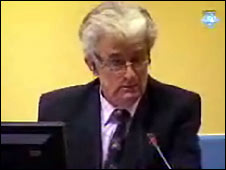 Radovan Karadzic at the UN war crimes tribunal in The Hague on 17 September