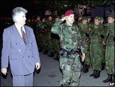 Karadzic and Arkan in Bijeljina, 1995