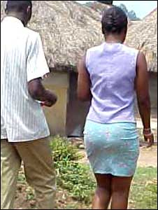 A woman wearing a miniskirt in Uganda