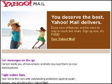 Yahoo mail home page, BBC