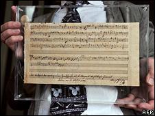 Rediscovered Mozart score