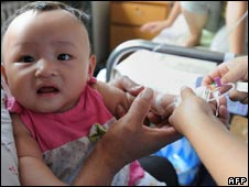 Baby treated in Hefei, in eastern China's Anhui province