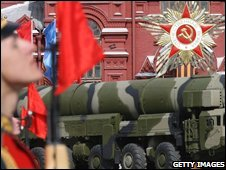 A picture taken on May 9, 2008 shows a Russian Topol-M ICBM on Red Square during a Victory Day Parade in Moscow