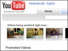 YouTube homepage, Google