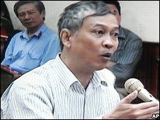 Vietnamese journalist Nguyen Viet Chien of the Thanh Nien newspaper during his trial in Hanoi,Vietnam on Wednesday